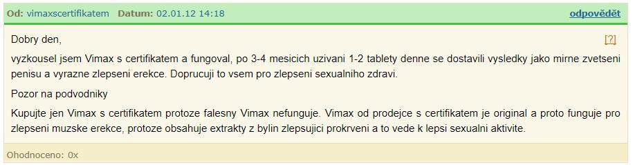 originálny vimax s certifikátom